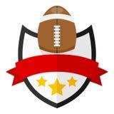 Logo plat de boule de rugby avec le ruban sur le blanc Images stock