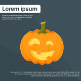 Logo plat orange de visage effrayant de Halloween de potiron Image libre de droits
