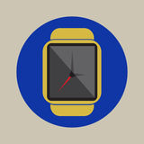 Logo plat simple d'icône de montre de temps d'heure de technologie d'application moderne futée de l'électronique photos stock