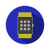 Logo plat simple d'icône de montre de temps d'heure de technologie d'application moderne futée de l'électronique Image libre de droits