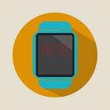 Logo plat simple d'icône de montre de temps d'heure de technologie d'application moderne futée de l'électronique photographie stock libre de droits
