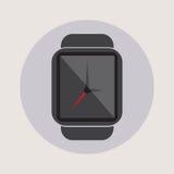 Logo plat simple d'icône de montre de temps d'heure de technologie d'application moderne futée de l'électronique images stock