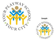 Logo - Play way school. Logo for Kids Educational Institute / Play Way Nursery School Stock Image