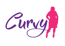 Logo plus size woman. Curvy symbol. Vector illustration Royalty Free Stock Photos