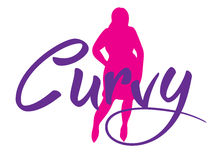 Logo plus size woman. Curvy symbol. Vector illustration Royalty Free Stock Photography
