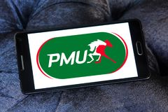 PMU betting company logo. Logo of PMU betting company on samsung mobile. PMU is Europe's largest betting operator and the 3rd largest pool betting company in Royalty Free Stock Photos