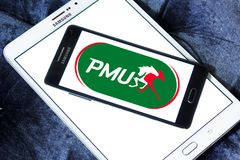 PMU betting company logo. Logo of PMU betting company on samsung mobile. PMU is Europe's largest betting operator and the 3rd largest pool betting company in Stock Images