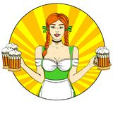 Logo Pop art Germany Girl waitress carries five beer glasses, oktoberfest. Comic style imitation. Banner, poster or. Logo Pop art Germany Girl waitress carries Royalty Free Stock Photo