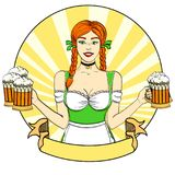 Logo Pop art Germany Girl waitress carries five beer glasses, oktoberfest. Comic style imitation. Banner, poster or. Logo Pop art Germany Girl waitress carries Royalty Free Stock Images