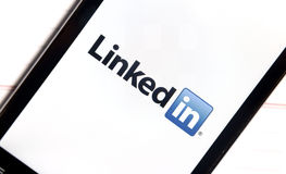 Logo of popular social media website linkedin on smart phone screen Royalty Free Stock Photo