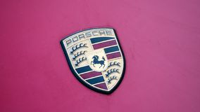 Logo of Porsche On A Purple Car stock images