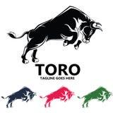 Logo potente di progettazione di vettore della siluetta del toro fotografie stock