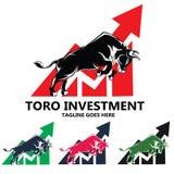 Logo potente di progettazione di vettore della siluetta del toro del mercato azionario fotografia stock