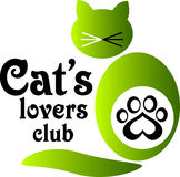 Logo pour le club des amants du chat Image stock