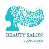 Logo pour le salon de beauté avec la silhouette femelle de visage illustration de vecteur