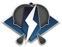 Logo pour le sport de l'équipe E, un symbole de la poêle et foudre sur un fond bleu, image libre de droits
