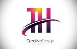 Logo pourpre de lettre du TH T H avec la conception de bruissement Magenta créatif M illustration libre de droits