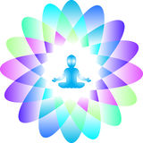 Logo. Power and Energy. Colorful illustration of a baby meditating in a lotus yoga position inside a colorful lotus flower with 16 petals symbolizing a power and Royalty Free Stock Photo