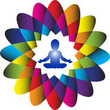 Logo. Power and Energy. Colorful illustration of a baby meditating in a lotus yoga position inside a colorful lotus flower with 16 petals symbolizing a power and Stock Photo