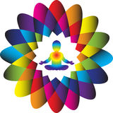 Logo. Power and Energy. Colorful illustration of a baby meditating in a lotus yoga position inside a colorful lotus flower with 16 petals symbolizing a power and Royalty Free Stock Photos