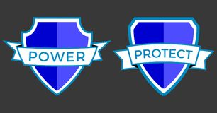 Logo Power protect. With text on inkscape Stock Illustration