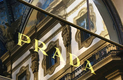 Logo Prada & reflections of Milan Royalty Free Stock Photos