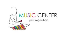 Logo for preschool music center. Kid playing xylophone, child development and educational games . kids intellectual vector illustration