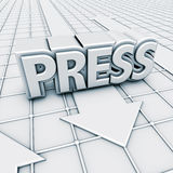 Logo press and arrows. 3D rendering, logo press and arrows Royalty Free Stock Photo
