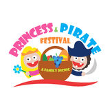 Logo princess and pirate festival a family picnic. Illustration Royalty Free Stock Image