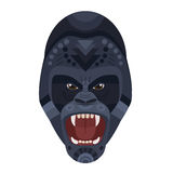 Logo principal criard de gorille féroce sauvage fâché Emblème décoratif de vecteur Photos libres de droits