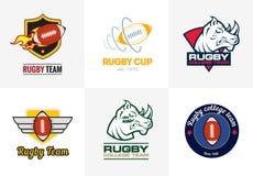 Logo principal de sport de rhinocéros Calibre d'insigne de rugby illustration de vecteur