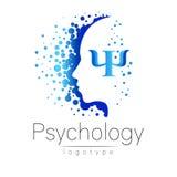 Logo principal moderne de la psychologie Humain de profil illustration stock