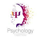 Logo principal moderne de la psychologie Humain de profil illustration libre de droits