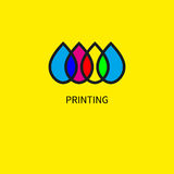 Logo printing house. Icon subtractive and addictive color models cmyk and rgb. Intersecting colored drops. Vector illustration Stock Photo