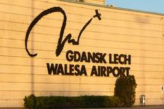 Logo promotionnel d'aéroport de Lech Valesa Photographie stock libre de droits