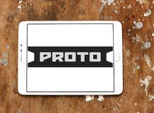 Proto Tools company logo. Logo of Proto Tools company on samsung tablet on wooden background. Proto Tools is an American industrial hand tool company. The Stock Photos