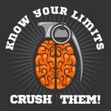 Logo psicologico - Brain Grenade Fotografia Stock
