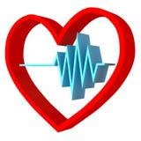 Heart rhythm logo. pulse simbol - 3D render vector illustration
