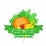 Logo pumpkin, peppers and wheat with the inscription `Eco food`. Illustration Royalty Free Stock Images