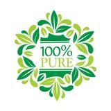 Logo 100% puro con iscrizione 100% puro e le foglie Fotografie Stock Libere da Diritti