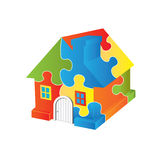 Logo Puzzle house royalty free stock images