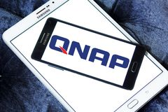 QNAP Systems company logo. Logo of QNAP Systems company on samsung mobile. QNAP is a Taiwanese corporation that specializes in providing networked solutions for Stock Image