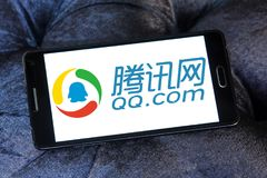 QQ.com logo. Logo of QQ.com on samsung mobile. Tencent QQ is an instant messaging software service developed by the Chinese company Tencent Holdings Limited. QQ Royalty Free Stock Photo