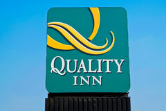 Logo of the Quality Inn Hotel and Suites in Denver, Colorado. Denver, CO, USA - August, 2017: Logo of the Quality Inn Hotel and Suites in Denver, Colorado stock photos