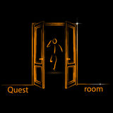 Logo for quest room. Illustration of a logo for quest room in line flat style, vector Stock Image