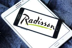 Radisson Hotels logo. Logo of Radisson Hotels on samsung mobile. Radisson Hotels is an international hotel company and a subsidiary of the Radisson Hotel Group royalty free stock photo