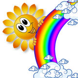 Logo rainbow sun and the clouds Royalty Free Stock Photography
