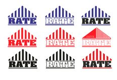 Logo rate. Many  logos. roof of the house and the name of the rate Royalty Free Stock Images