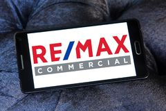 Real Estate Maximums, REMAX company logo. Logo of Real Estate Maximums, REMAX company on samsung mobile. RE/MAX, short for `Real Estate Maximums,` is an American Royalty Free Stock Photos