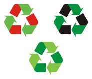 Logo Recycle. Red and Black use on the flip side of the arrow depict hazardous waste which gets recycled into eco friendly biodegradable [green] waste Vector Illustration